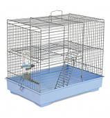 """Клетка для мелких декоративных грызунов """"Микки"""" с лесенкой  37*25*30, хром голубая"""