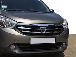 Dacia Lodgy 2013↗ рр. Накладки на решітку (2013-2015, 4 шт, нерж.)