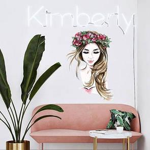 Наклейка на стену Акварельная девушка в венке из цветов (цветная наклейка, салон красоты, силуэт женщины)