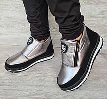 Серебристые женские зимние ботинки - ботильоны (Бт-5л)
