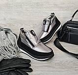 Серебристые женские зимние ботинки - ботильоны (Бт-5л), фото 2