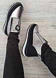 Серебристые женские зимние ботинки - ботильоны (Бт-5л), фото 5