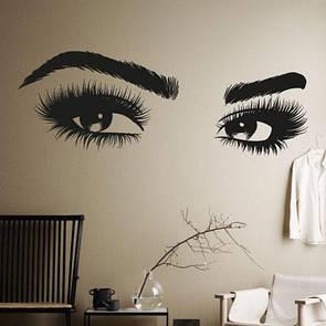 Интерьерная виниловая наклейка на стену Выразительный взгляд (брови, женские глаза, красивый силуэт)