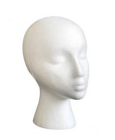 Манекены головы из пенопласта женская С ДЕФЕКТОМ!  Обхват 54см. для шапок, париков, очков, рисования., фото 2