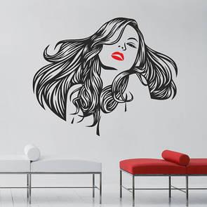 Наклейка на стену Девушка с пышными волосами (наклейка прическа, стикер длинные волосы, красивая женщина)