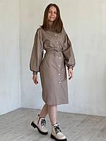 Платье Варшава хлопковое Romashka, Песочный, M|L (4885)