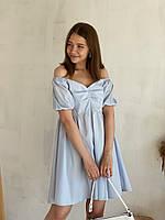 Платье Дели свободное хлопковое Romashka, Голубой, M|L (4312)