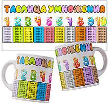 Чашка з таблицею множення російською мовою.