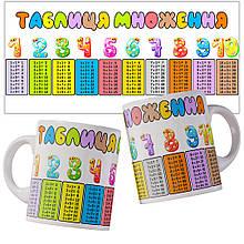 Чашка с таблицей умножения на украинском языке.