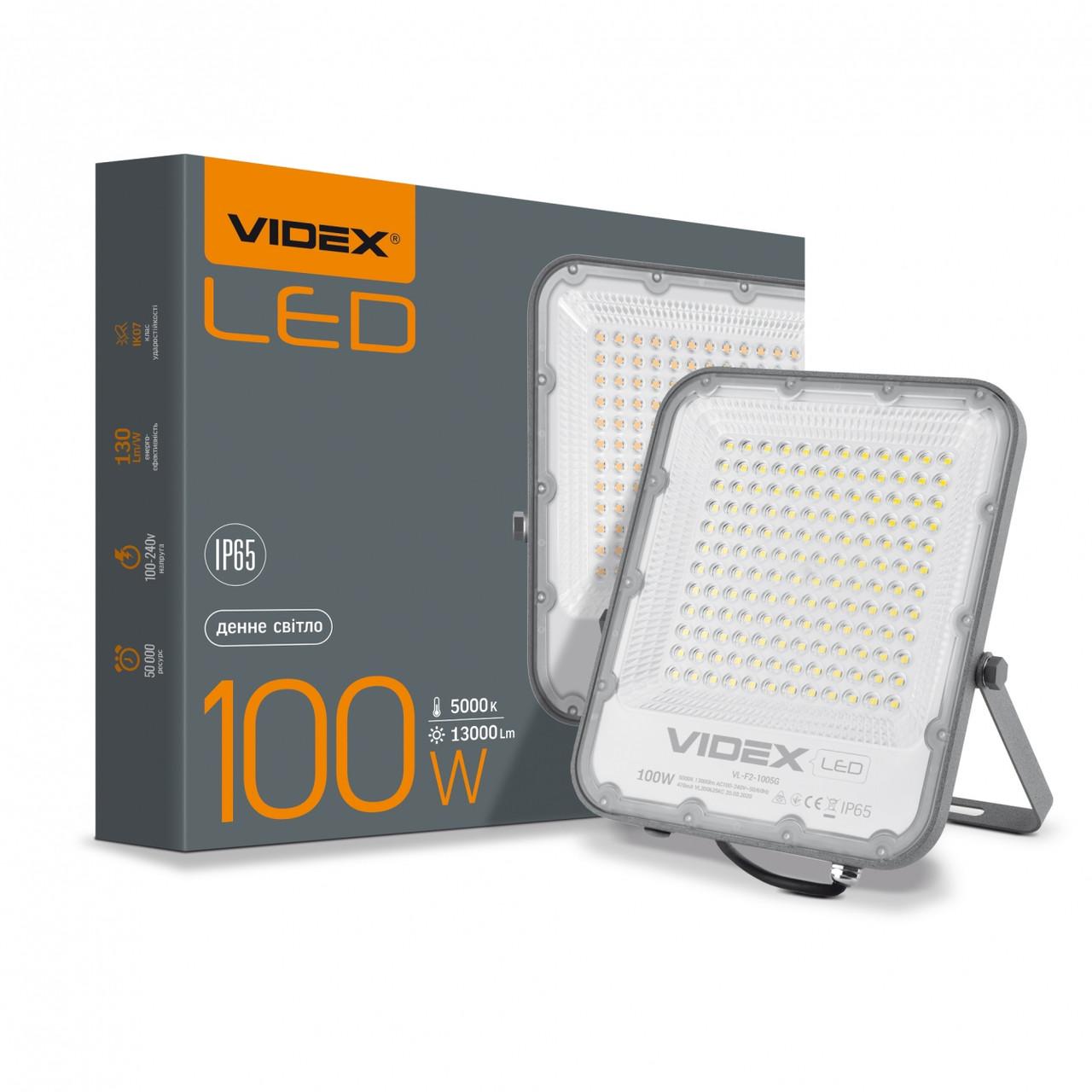 LED прожектор VIDEX PREMIUM 100W 5000K 220V Gray VL-F2-1005G 25959