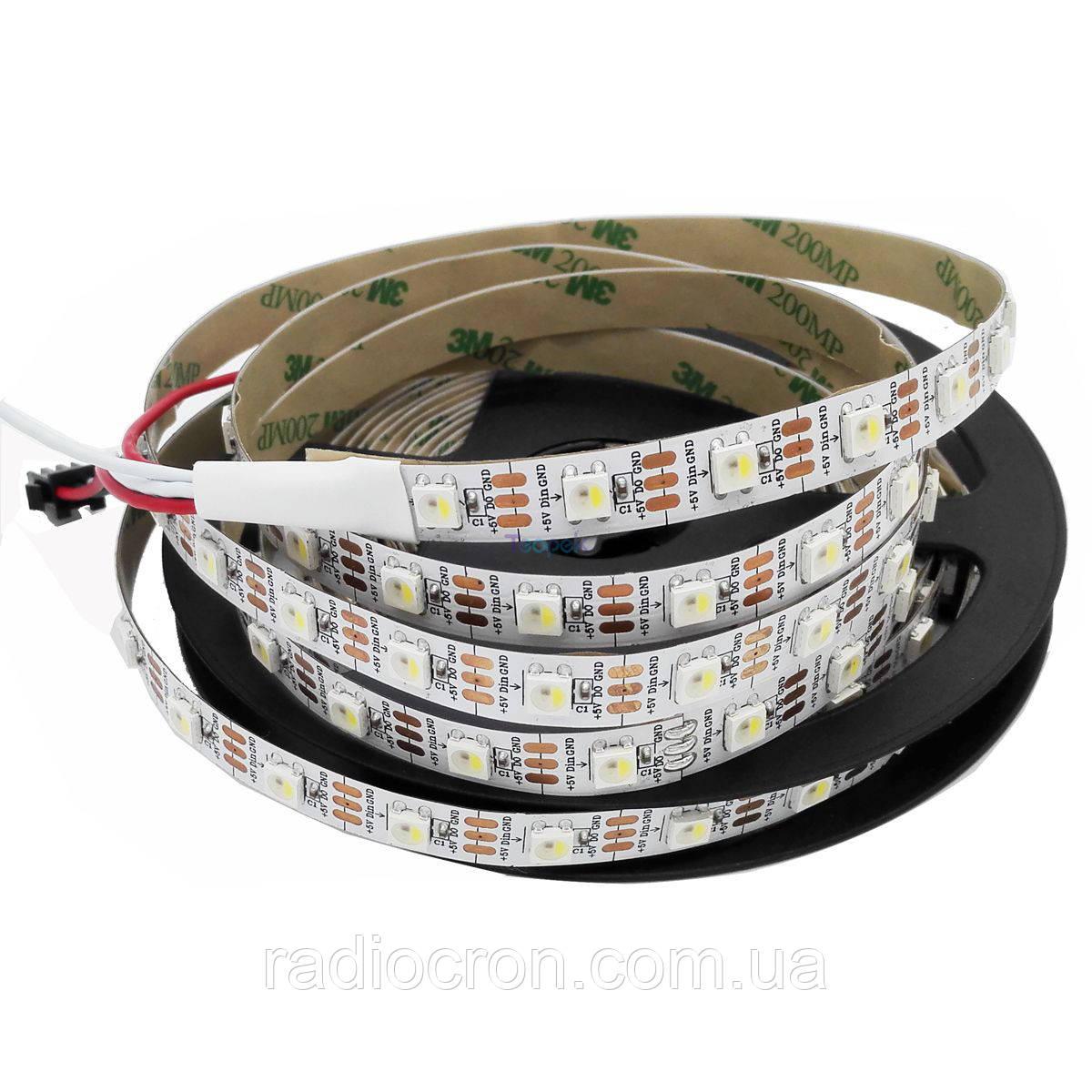 Светодиодная лента WS2812B, RGB, IP30, 60 Светодиодов/м, 5В, 1м, Белая подложка