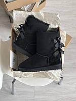 Жіноча зимове взуття Уггі з двома бантами. Комфортні уггі для дівчат BAILEY BOW II BLACK замшеві.