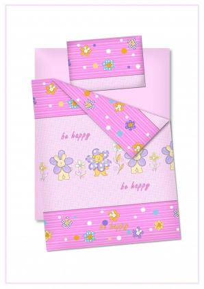 """Детское постельное белье """"Би хеппи"""", цвет розовый"""