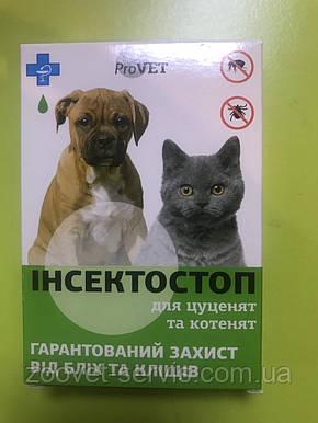 Капли от блох и клещей для щенков и котят Инсектостоп ProVET уп. 6шт х 0.5 мл, фото 2