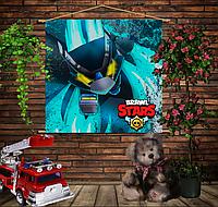 Мобильная картина-постер (гобелен) на ткани с 3D с принтом Бравл Старс Ворон Меха Brawl Stars