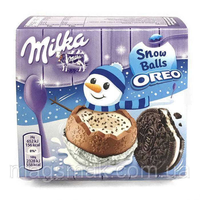 Шоколадні кульки Milka Snow Balls з молочною начинкою і печиво Oreo 4х28гр