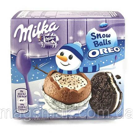 Шоколадні кульки Milka Snow Balls з молочною начинкою і печиво Oreo 4х28гр, фото 2