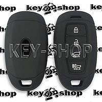 Чехол (силиконовый) для смарт ключа Hyundai (Хундай) 3 + 1 кнопки (черный)