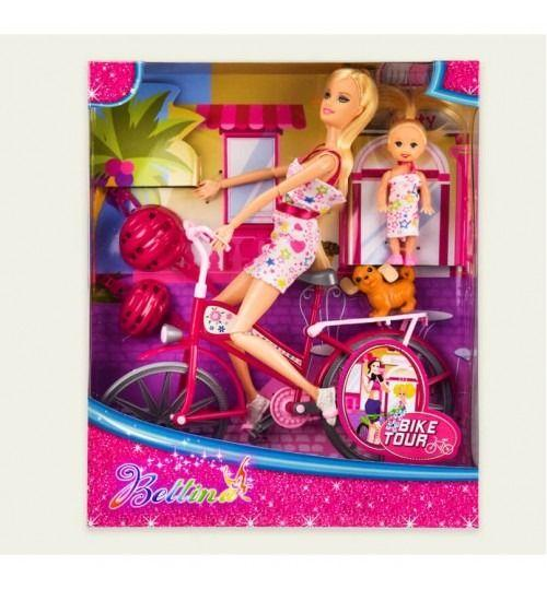 68194 Кукла 28 см с велосипедом, ребенком и аксесуарами, в коробке 32,5*7,5*27 см
