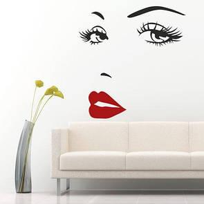 Наклейка на стену Женское лицо (глаза, губы, брови, силуэт)