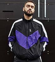Ветровка-зиппер мужская Пушка Огонь Split черно-белая с фиолетовым, фото 1