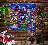 Мобильная картина-постер (гобелен) на ткани с 3D с принтом Бравл Старс 2020 Brawl Stars