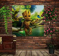 Мобильная картина-постер (гобелен) на ткани с 3D с принтом Маленький Грут на дереве