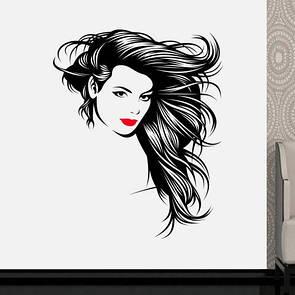 Наклейка на стену Красотка (девушка с пышными волосами, красными губами, прическа)
