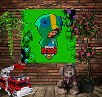 Мобильная картина-постер (гобелен) на ткани с 3D с принтом Бравл Старс Леон Sculls Brawl Stars