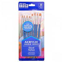"""Набор художественных кистей для акриловых красок """"Basics"""" 8шт."""