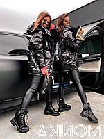Замеры! 42 до 52. Блестящая куртка черная. Женская курточка на силиконе с капюшоном.Модная куртка утепленная