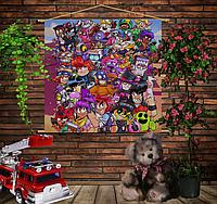 Мобильная картина-постер (гобелен) на ткани с 3D с принтом Бравл старс Party Brawl Stars