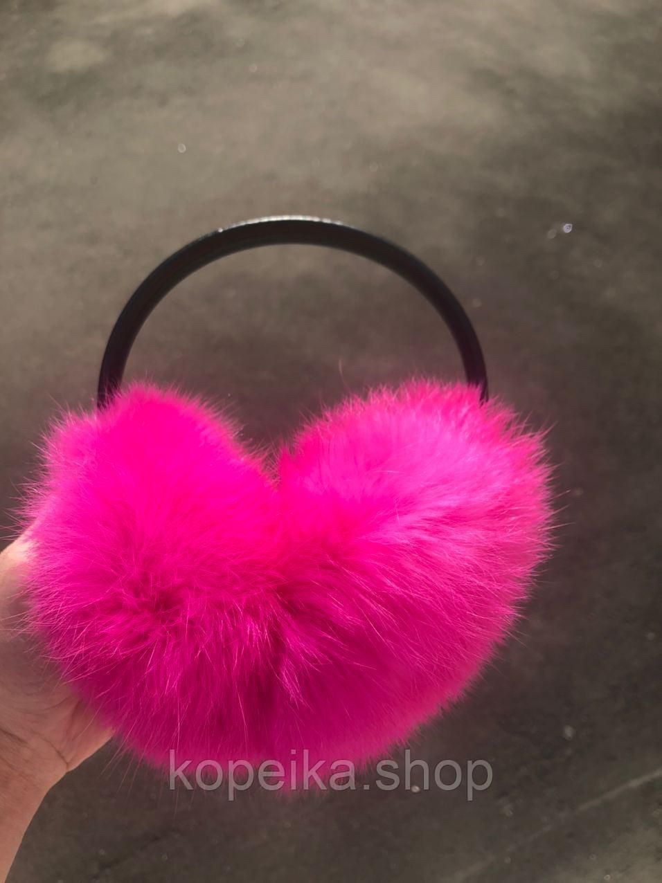 Меховые наушники(нежно розовый)
