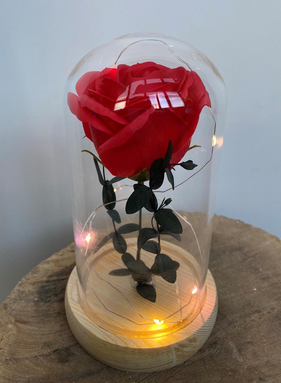 Вечная роза в колбе с LED подсветкой 17,5 см. Красная. Вечно живая роза с подсветкой