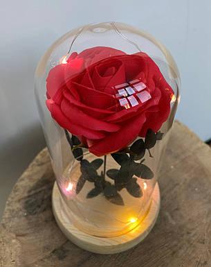 Вечная роза в колбе с LED подсветкой 17,5 см. Красная. Вечно живая роза с подсветкой, фото 2