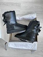 Жіноча зимове взуття Уггі з замшевою задником. Комфортні уггі для дівчат BAILEY BOW II BLACK.