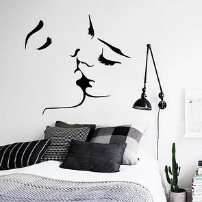 Наклейка на стену Поцелуй (силуэт мужчина женищна, нежность, отношения)