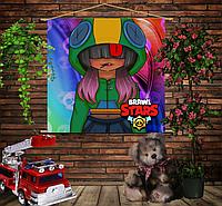 Мобильная картина-постер (гобелен) на ткани с 3D с принтом Бравл Старс Девушка Леона Brawl Stars