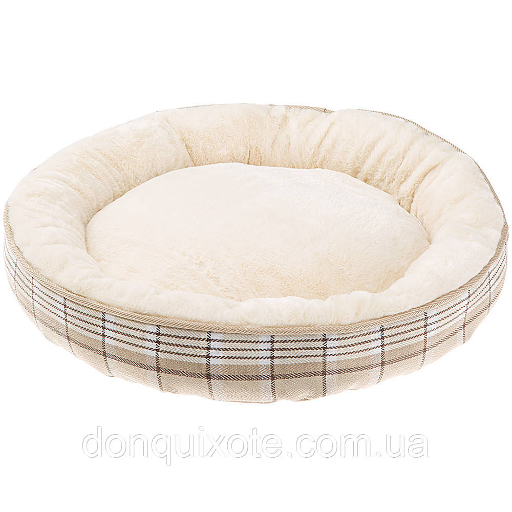 Лежанка для кошек и собак Ferplast LAGOON 50 из х/б ткани и меха. Лежак для собак и кошек.