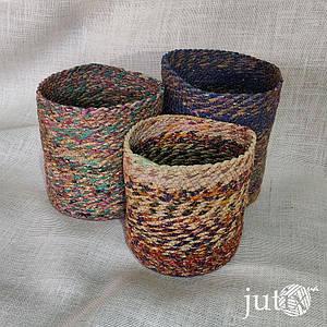 Кашпо плетеное цветное (текстильное)