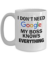 "Белая кружка (чашка) с принтом ""I don't need Google my boss knows everything"""