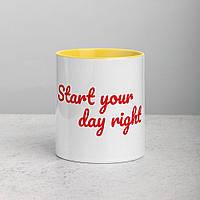 """Белая кружка (чашка) с принтом """"Start your day right"""""""