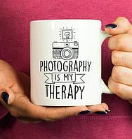 "Белая кружка (чашка) с принтом ""Photography Is My Therapy"""