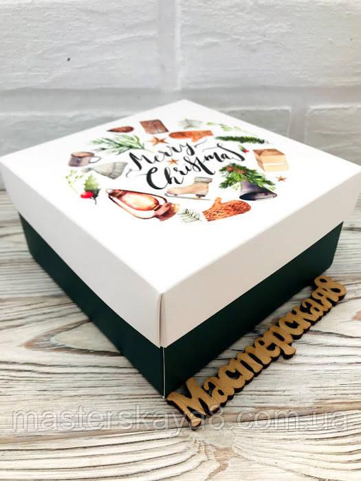 Коробка подарункова новорічна 140*140*70 мм , картонна, Merry Christmas