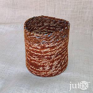 Кашпо плетеное цветное (текстильное) 20 см