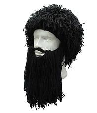 Зимняя шапка викинга с дредами и средней длины бородой Чёрная, фото 3