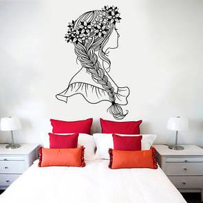 Наклейка на стену Весна (девушка с красивой косой в венке из цветов)