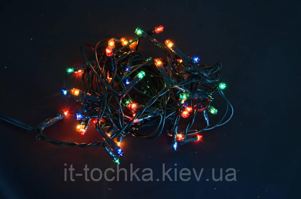 Электрогирлянда новогодняя  50 микроламп многоцветная 23 м  1 реж мигания зел провод  yes! fun 801063