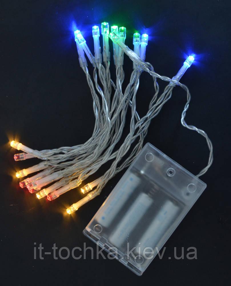 Электрогирлянда новогодняя  20 led лампочек многоцветная 210 м  1 реж мигания прозр про yes! fun 801128