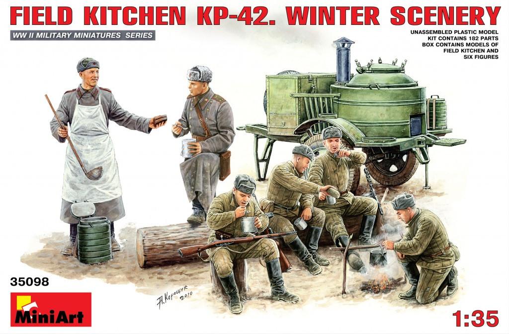 KП-42 полевая кухня, зимний привал. 1/35 MINIART 35098